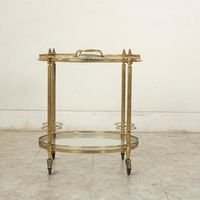Mid-20th Century French Louis XVI Style Brass and Glass Bar Cart In Good Condition For Sale In Fayetteville, AR