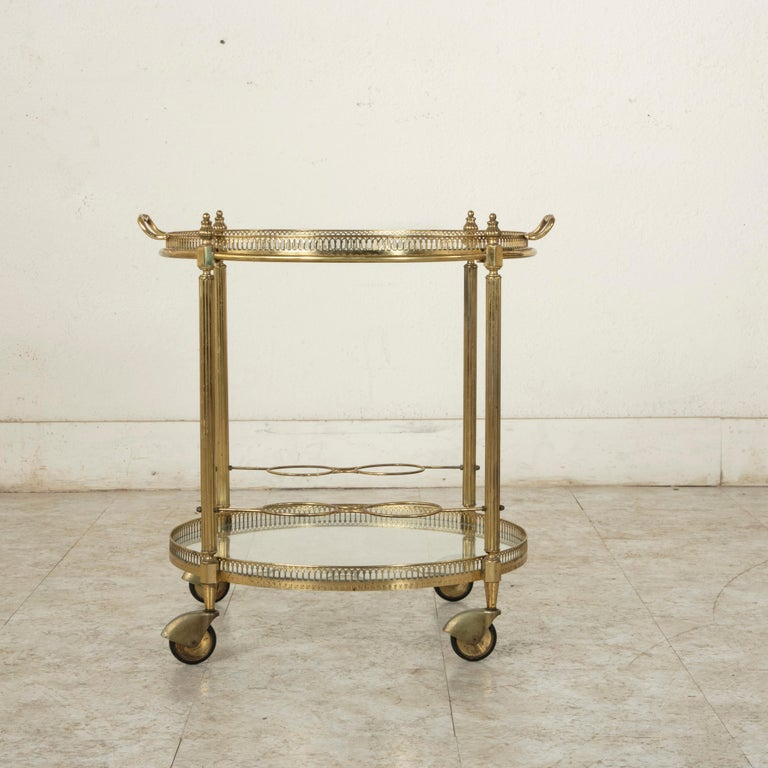 Mid-20th Century French Louis XVI Style Brass and Glass Bar Cart For Sale 1