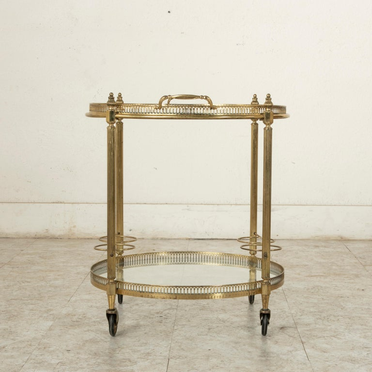 Mid-20th Century French Louis XVI Style Brass and Glass Bar Cart For Sale 2