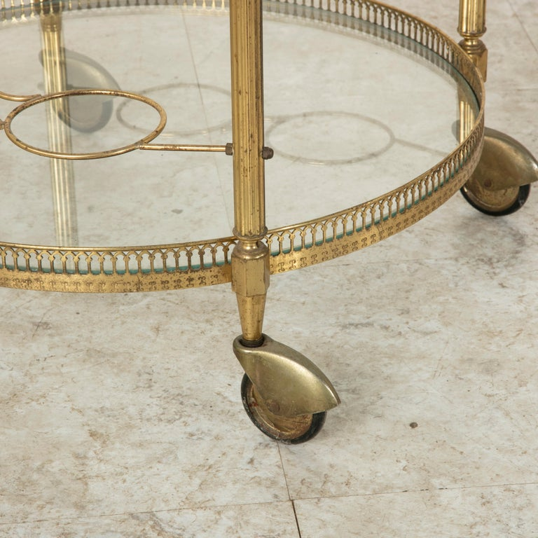 Mid-20th Century French Louis XVI Style Brass and Glass Bar Cart For Sale 5
