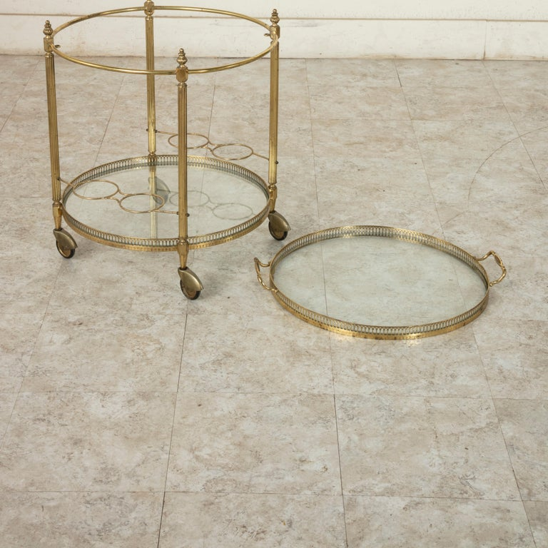 Mid-20th Century French Louis XVI Style Brass and Glass Bar Cart For Sale 6