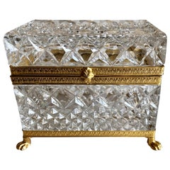 Mid-20th Century Italian Cut Crystal Dresser Box