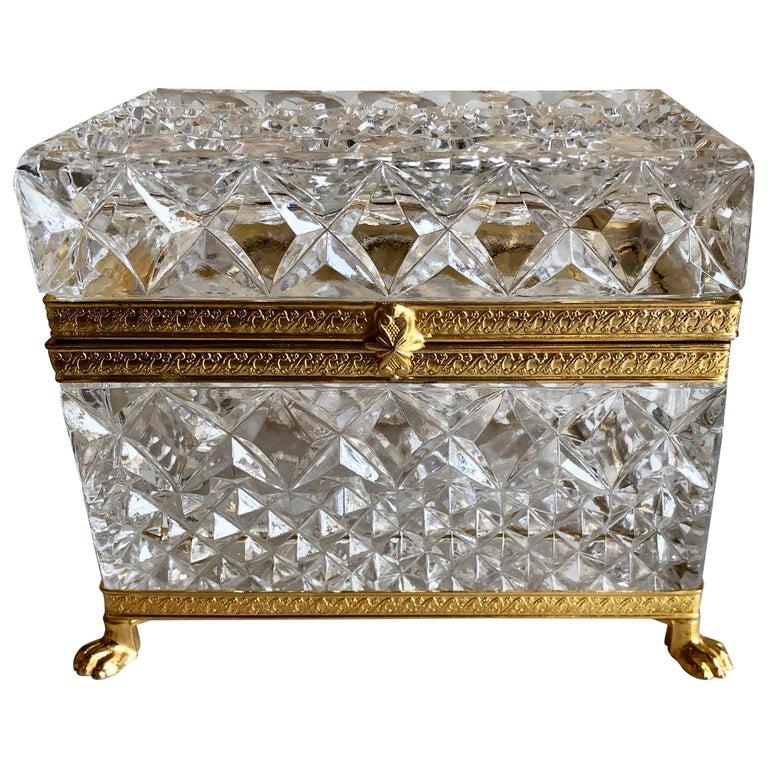 Mid-20th Century Italian Cut Crystal Dresser Box For Sale