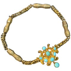 Mid-Victorian 15 Carat Gold and Turquoise Fancy Snake Bracelet
