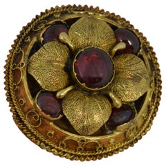 Mid Victorian 15 Karat Gold and Garnet Cabochon Brooch
