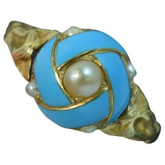 Mid Victorian 18 Carat Gold Baby Blue Enamel and Pearl Cluster Ring