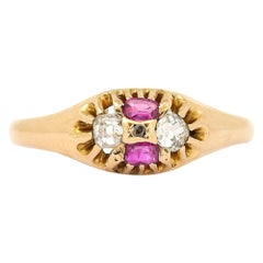 Mid Victorian 18 Karat Yellow Gold Ruby and Diamond Four-Stone Ring, circa 1866