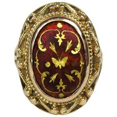 Mid Victorian Antique Garnet Gold Ring