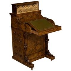 Mid Victorian Burr Walnut Piano Top Davenport