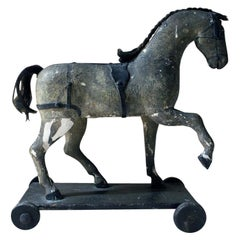 Mid-Victorian Carved Pine & Dappled Painted Pull-a-Long Horse, circa 1860-1870
