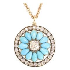 Mid-Victorian Diamond Turquoise Halo Flower Pendant