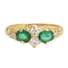 Mid-Victorian Emerald Diamond Scrolled Cluster Ring