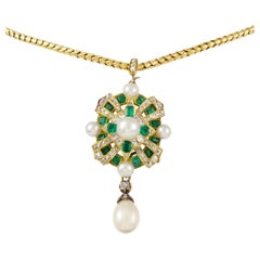 Mid-Victorian Emerald, Pearl and Diamond Pendant