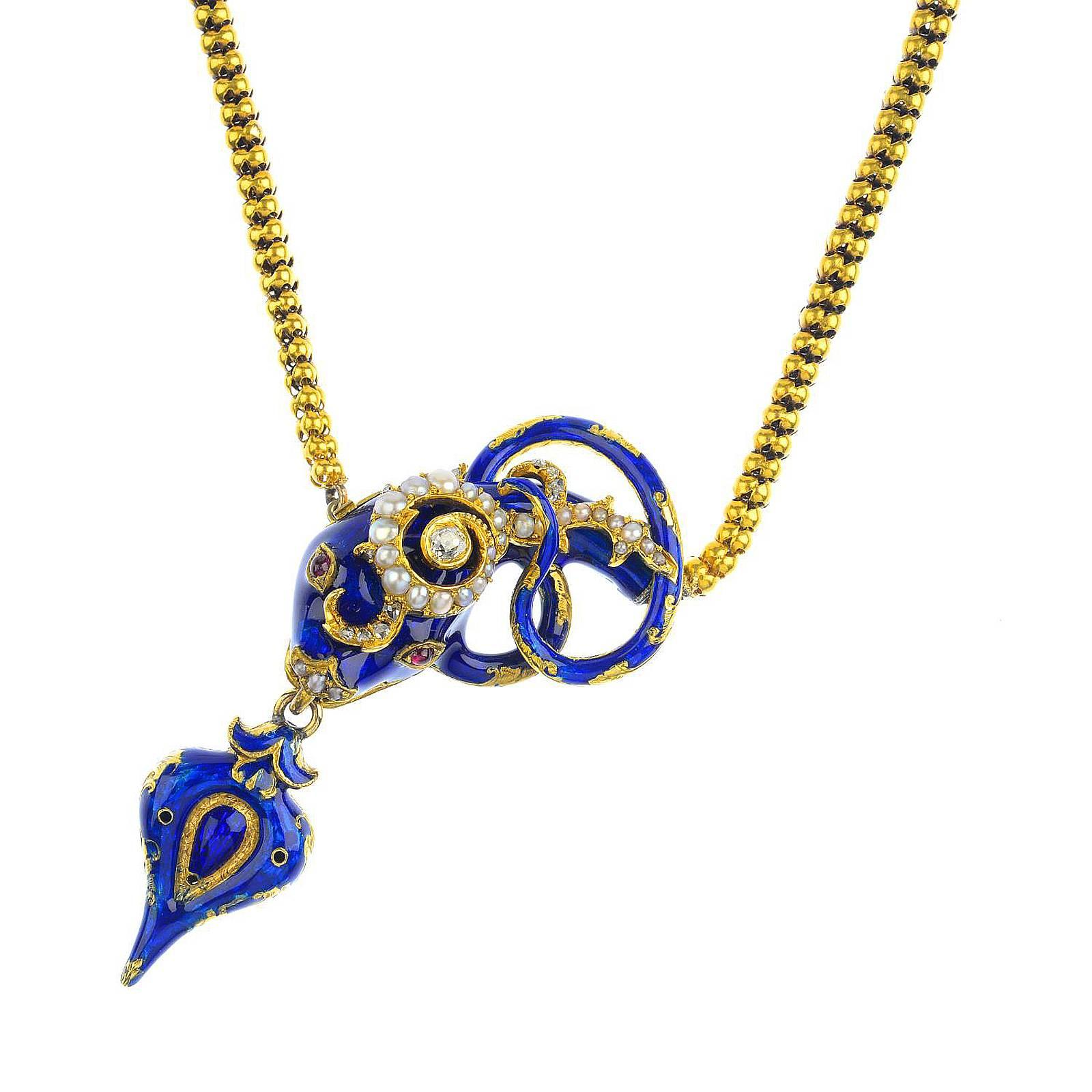 bonas necklace oliver jewellery blue enamel fionn pebble