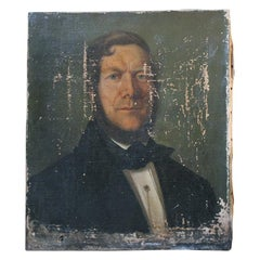 Mid-Victorian English School Oil on Canvas Portrait of a Gentleman Dated to 1864