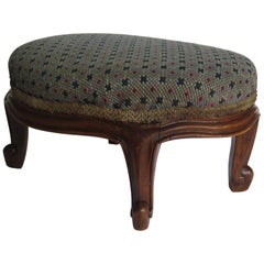 Mid Victorian Footstool Oval Mahogany with Tapestry Style Woven Top, circa 1850