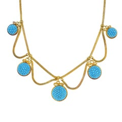 Mid Victorian Gold Turquoise Necklace