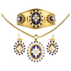 Mid-Victorian Half Pearl, Diamond and Blue Enamel Suite