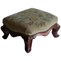 Mid-Victorian Mahogany Footstool Cabriole Legs & woven Tapestry Top, circa 1850