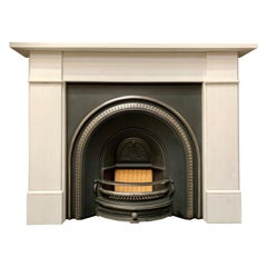 Mid-Victorian Manner Statuary Marble Fireplace Surround