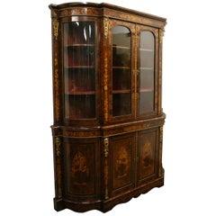 Mid Victorian Marquetry Display Cabinet, circa 1870