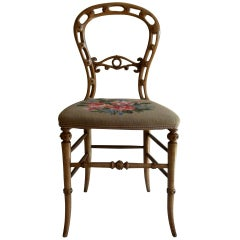 Mid Victorian Side Chair Finely Hand Carved with Wool Work Seat, Circa 1850