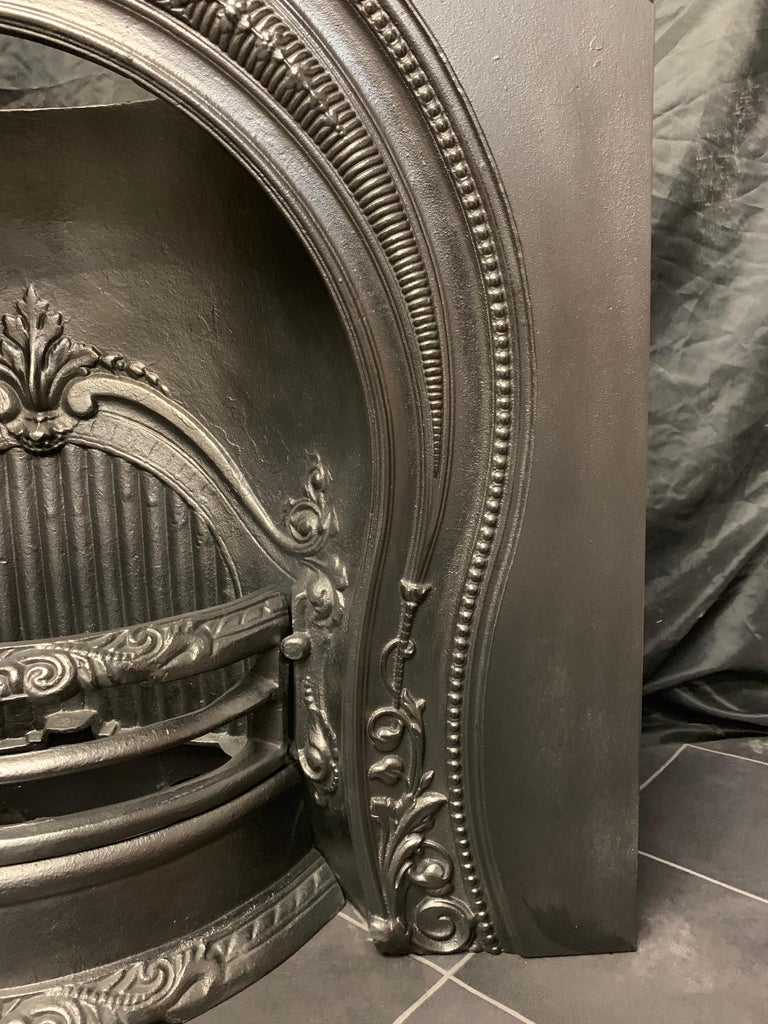 Cast Mid-Victorian Style Horseshoe Arch Fireplace Insert For Sale