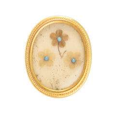 Mid-Victorian Turquoise Forget-Me-Not Memorial Ring