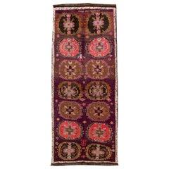 Mid-Vintage Turkish Handmade Purple Tribal Wool Runner
