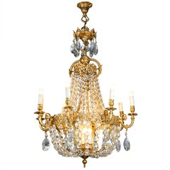 Mid20th Century Italian Empire Style Crystal 24-Karat Gilded Bronze Chandelier