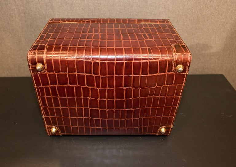 Midcentury Brown Leather Italy MarCo Tadini Vanitycase Snake Effect For Sale 12
