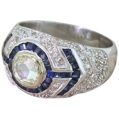 Midcentury 0.79 Carat Rose Cut Diamond and Sapphire 18 Karat Gold Ring