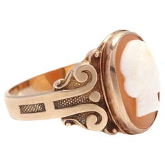 Midcentury 10 Karat Yellow Gold and Carved Cameo Ring