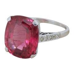 Midcentury 11.46 Carat Rubellite Solitaire Ring
