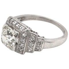 Midcentury 1.15 Carat Platinum Diamond Ring