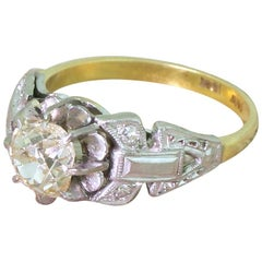 Midcentury 1.17 Carat Old Cut Diamond Engagement Ring