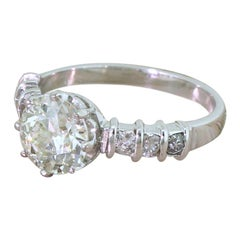 Midcentury 1.35 Carat Old European Cut Diamond Engagement Ring