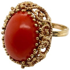 Midcentury 14 Karat Gold and Coral Cabochon Cocktail Ring