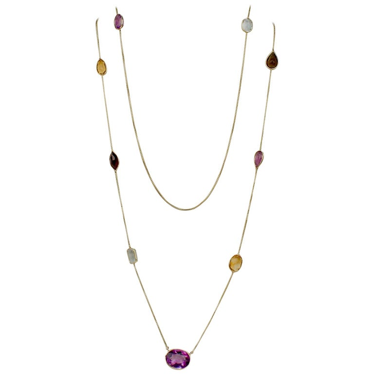 Midcentury 14 Karat Gold and Multi-Gemstone Rope Length Necklace For Sale