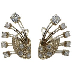 Midcentury 14 Karat Yellow Gold 3 Carat Old European Cut Diamond Earrings