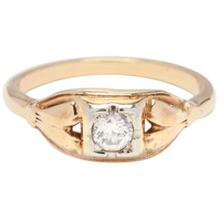 Midcentury 14 Karat Yellow Gold and Diamond Engagement Ring