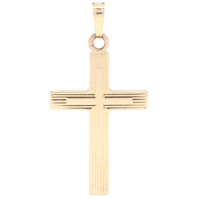 Midcentury 14 Karat Yellow Gold Cross Pendant For Sale