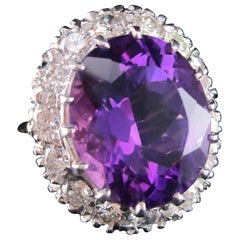Midcentury 14 Karat Yellow Gold Platinum Amethyst Diamond Ring