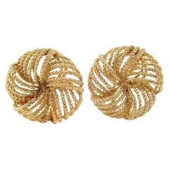 Midcentury 14 Karat Yellow Gold Round Knot Textured Twist Clip-On Earrings