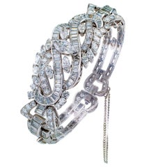 Midcentury 16.00 Carat Diamond Platinum Bracelet