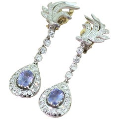 Midcentury 1.74 Carat Sapphire and 1.59 Carat Diamond Drop Earrings