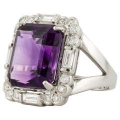 Midcentury 18 Karat Amethyst and Diamond Ring