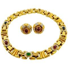 Midcentury 18 Karat Gold, Diamond, Sapphire, Ruby, Emerald Necklace Earrings