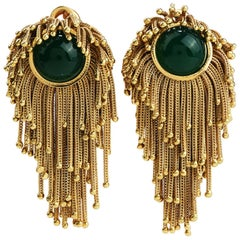 Midcentury 18 Karat Gold Tassel Green Onyx Clip-On Earrings