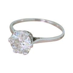 Midcentury 1.81 Carat Old Cut Diamond Engagement Ring, circa 1945